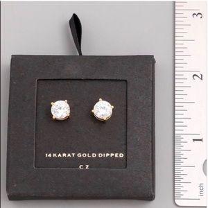 Pretty Girl Swag Jewelry Jewelry - 14K Gold Dipped CZ Sparkle Plus Stud Earrings